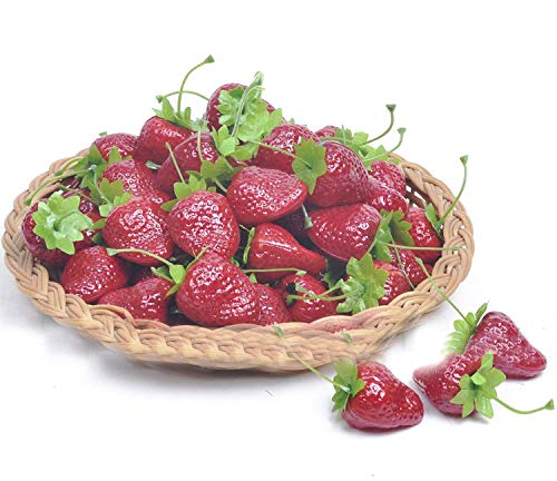 sexyrobot 26 Pcs Artificial Simulation Fruit, Lifelike Fake Strawberries Home Tabletop Kitchen Party Photograph Decoration Children Toys, Dark Red