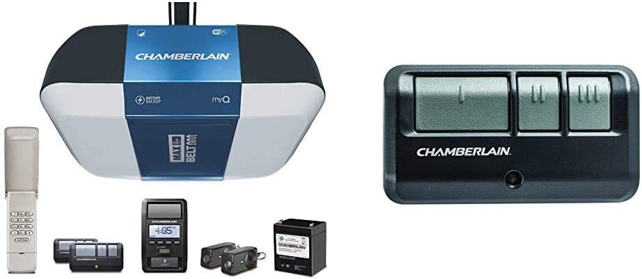 Chamberlain Group B1381 Drive Garage Door Opener & G953EV-P2 Chamberlain/LiftMaster/Craftsman 953EV-P2 3-Button, Security +2.0 Compatible, Includes Visor Clip Garage Door Opener Remote