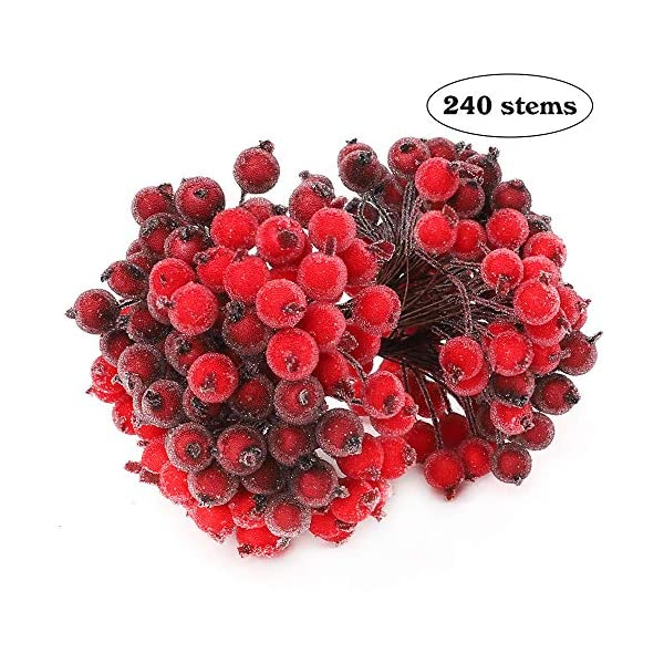 TERUNPU 240 Wired Stems of Artificial Holly Berries 480 Heads Christmas Red Berry Stems Fake Berry Sprays for Decor Christmas Tree Wreath Garland Decor(Red and Dark Red)