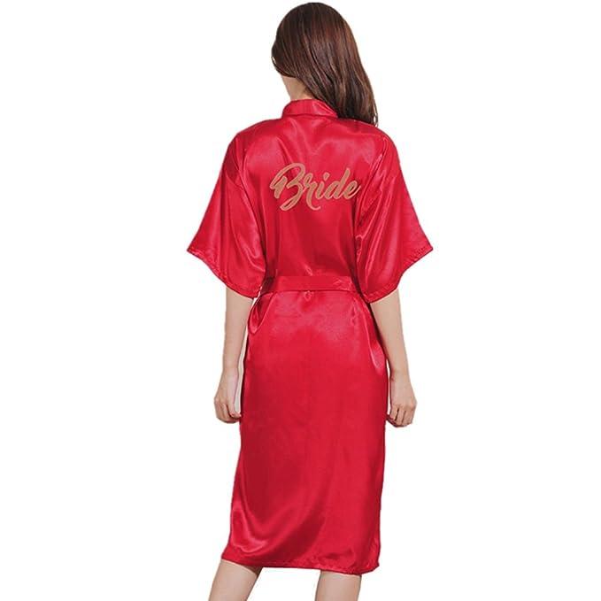 BOYANN Novia Estampado en Caliente Ropa de Dormir Sexy Batas y Kimonos de Satén, Burdeos XL: Amazon.es: Ropa y accesorios