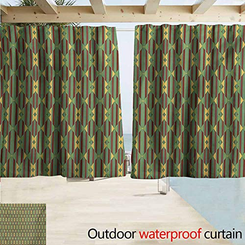 (Wlkecgi Kente Pattern Custom Outdoor Curtain Retro Revival Diamond Line Pattern with Vertical Stripes Curtains for Living Room W55 xL72 Sea Green Mustard and Ruby)