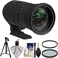 Sigma 50-500mm f/4.5-6.3 OS HSM APO DG Zoom Lens with Pistol Grip Tripod + 2 UV/CPL Filters + Kit for Nikon Digital SLR Cameras