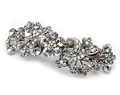 Elegance Collection - Bridal Wedding Barrette, Silver & AB Crystals - Silver Wedding Collection