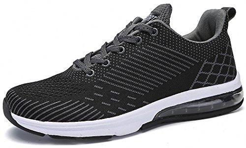 Weweya Herren Atmungsaktives Mesh Turnschuhe Freizeitschuhe Ultra-Light Sportschuhe Laufschuhe 39-46 A-Schwarz