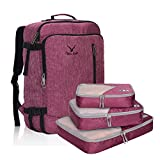 Hynes Eagle 38L Flight Approved Weekender Carry on Backpack Red Violet with Fuschia 3PCS Packing Cubes