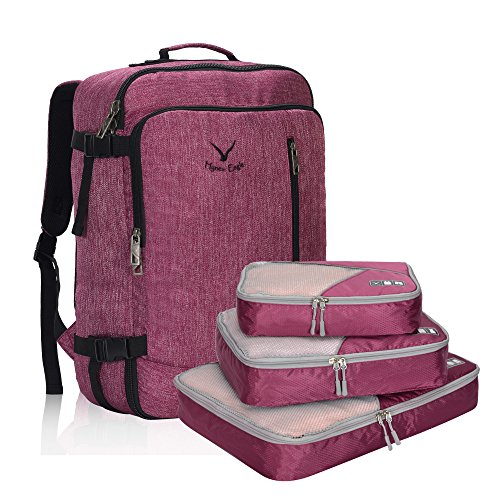 - Hynes Eagle 38L Flight Approved Weekender Carry on Backpack Red Violet with Fuschia 3PCS Packing Cubes