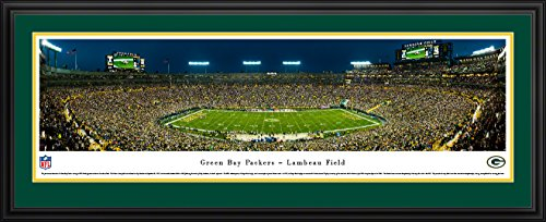 Framed Lambeau Field Green - Green Bay Packers - 50 Yard - Night - Blakeway Panoramas NFL Posters with Deluxe Frame