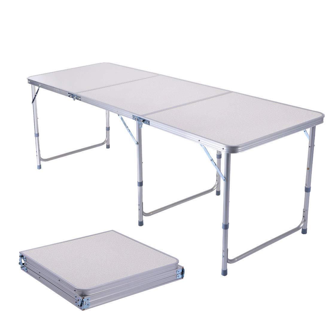 Sunreal 1.2m Tavolo Pieghevole in Alluminio Portatile da Campeggio Tavolo da Picnic / Barbecue / Festa in Giardino / Tour Self-Driving