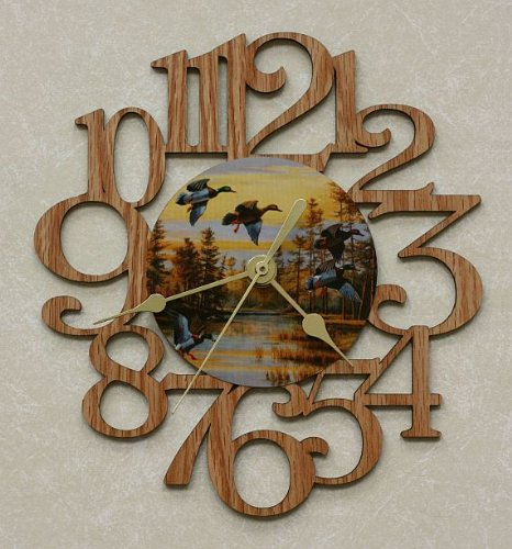 DUCKS ~ SMALL Decorative OAK PHOTO WALL CLOCK ~ Great Gift for the HUNTING Enthusiast!
