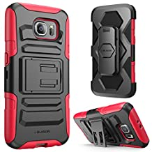 Galaxy S6 Case, i-Blason Prime [Kickstand] Samsung Galaxy S6 2015 Release **Heavy Duty** [Dual Layer] Combo Holster Cover case with [Locking Belt Swivel Clip] (Red)