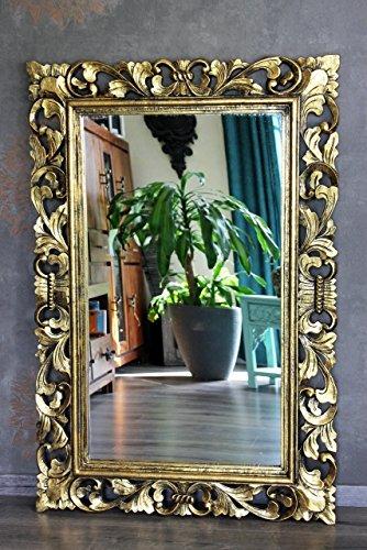 Naturesco Edler Holz Barockspiegel Wandspiegel gold antik Hoch-Querformat 120cm x 80cm