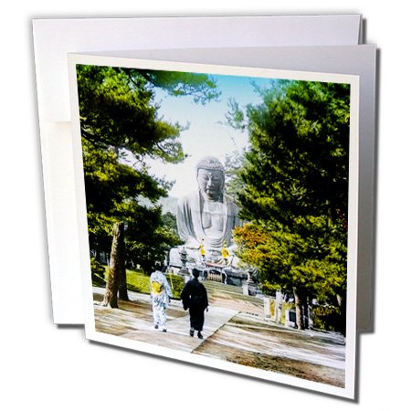 Scenes from the Past Magic Lantern Slides - The Great Buddha at Kamakura Vintage Hand Colored Slide Japanese - 1 Greeting Card with envelope (gc_246760_5)