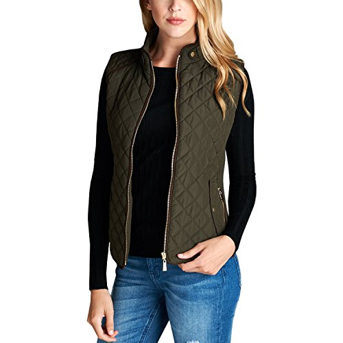 Fashionazzle Women's Lightweight Suede Contrast Quilted Zip Up Vest Jacket (Large, Olive) (Quilted Vest Green)