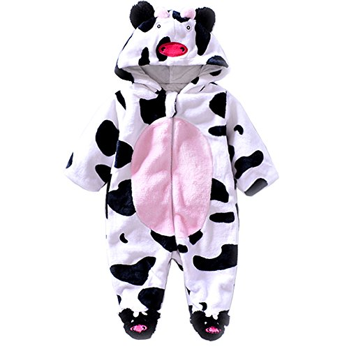 Unisex Baby Jumpsuits-Girl Boys Cosplay Costume Fleece Romper Animal Hoodie Onesie Pajamas Outfits Suit by Exemaba (9-12 Months, Cows)