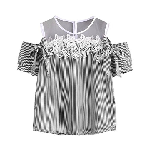 FORUU 2018 Warehouse Sale Product Women Short Sleeve Off Shoulder Lace Striped Blouse Casual Tops T-Shirt (XL, Black)