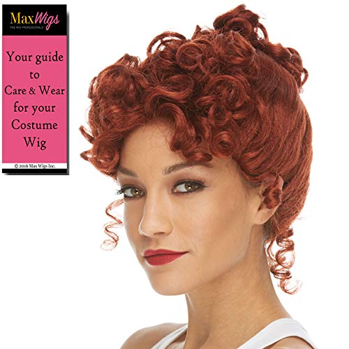 Lucy Wilma Color Auburn - Sepia Wigs I Love Lucielle Cartoon RedHead Synthetic Cosplay Halloween Dress Up Fancy Gibson Syle Flinstone Bundle MaxWigs Hairloss Booklet -