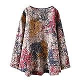 Women Summer Blouse,TWinmar Floral Print Tops Casual Long Sleeve T-Shirts Hem Cardigan Oversize S-XXXXXL Red
