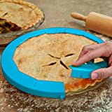 Pie Crust Shield Adjustable BPA-Free Silicone Pie Protectors Fit 8.5-11.5 Inch Dishwasher Safe (blue)