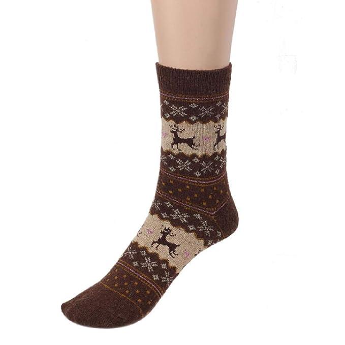 Gusspower-Calcetines de lana de punto calcetines térmicos Adulto Unisex Calcetines Cervatillo de seda dorado navideño (A): Amazon.es: Ropa y accesorios