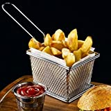 Best Utensils Chips Fry Baskets Stainless Steel Mini Fryer Basket Strainer Serving Food Presentation Cooking Tool French Fries Basket (Small 4 inches)