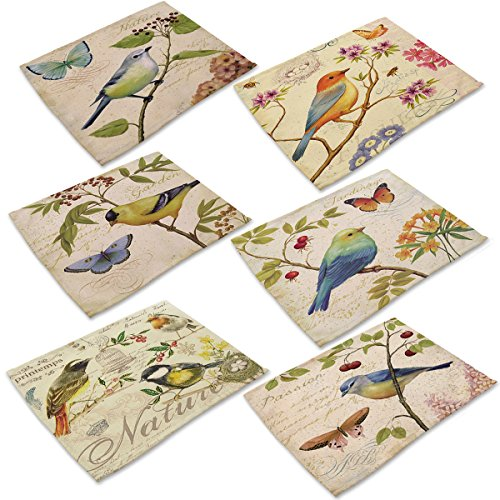 Marstree Cotton Linen Placemats, Set of 6 Bird Ink Painting Dining Table Mats for Kitchen by