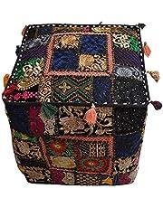Vintage Patchwork Poef Cover,Handgemaakte Vierkante Katoen Ottomaan,Decoratieve Patchwork Geborduurde Poeffe,Mooie Home Decor Stoel Cover