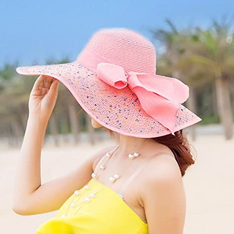 LOF-fei Donna Estate Cappello da Sole Tesa Largo Cappucci di Paglia floscio  Protezione UV 933b449b9800