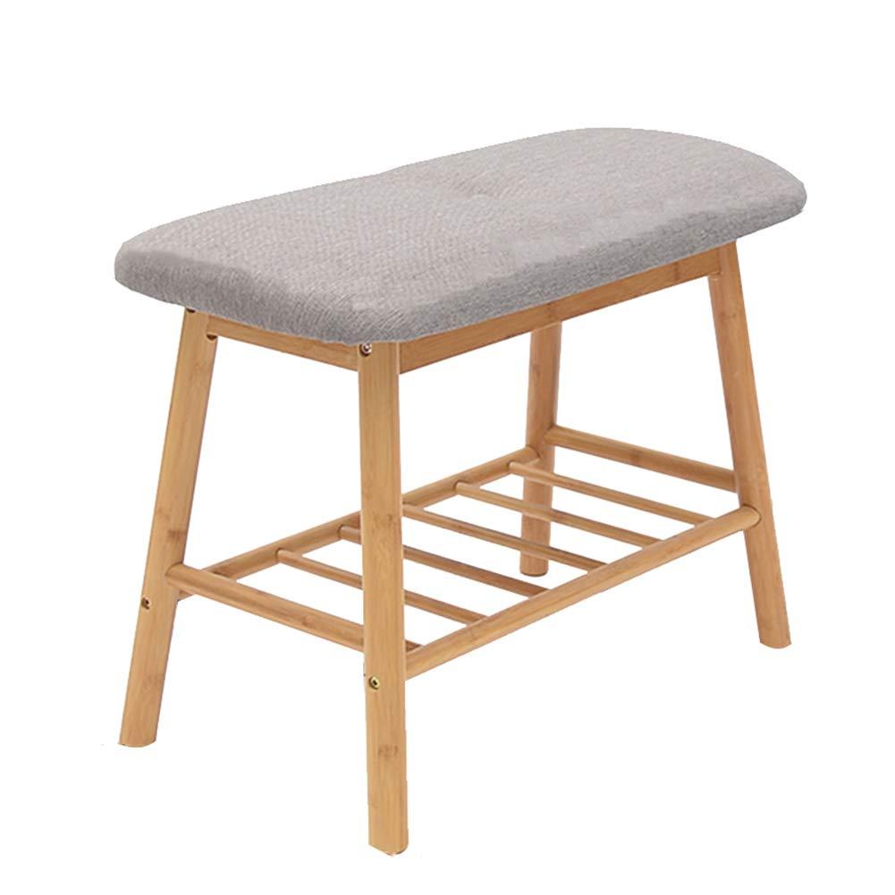 JIANFEI Shoe Shelf Rack Multifunction Storage Coat Rack Cotton Cushion,Bamboo 2 Colours 3 Models (Color : Gray, Size : 53x30x45cm)