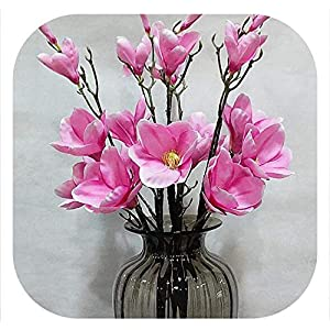 Silk Magnolia Flower Artificial Decorative Wedding Flower Bouquet Simple Big Size Fake Orchid for Home Decoration,Pink 110