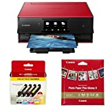 Canon PIXMA TS9020 Printer, Ink and Paper Bundle, Red