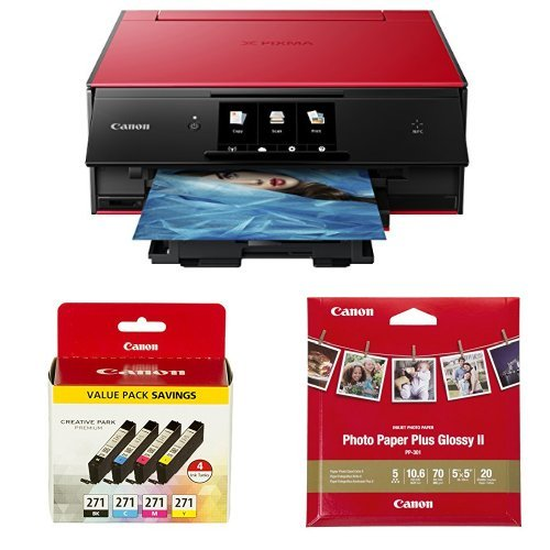 Canon PIXMA TS9020 Printer, Ink and Paper Bundle, Red by Canon