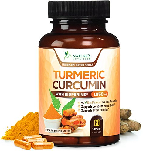 Turmeric Curcumin Max Potency 95% Curcuminoids 1950mg with Bioperine Black Pepper for Best Absorption, Anti-Inflammatory Joint Relief, Turmeric Supplement Pills by Natures Nutrition - 60 (Boswellia Anti Inflammatory)
