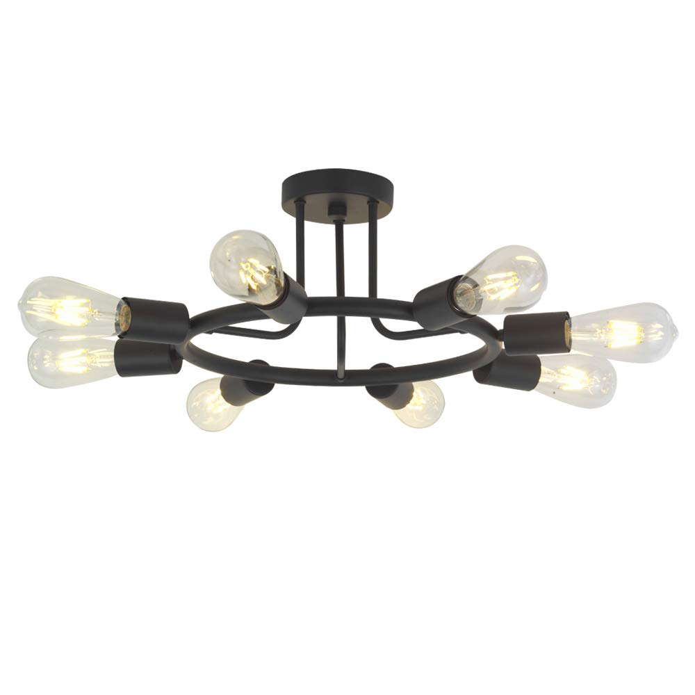 Bonlicht 8 lights semi flush mount ceiling light modern metal chandelier lighting black industrial vintage light fixtures for kitchen island dining room