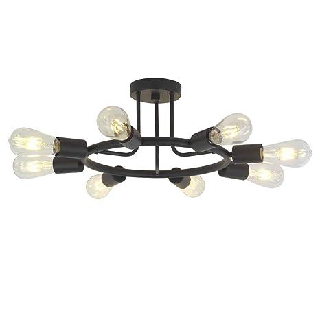 BONLICHT 8 Lights Semi Flush Mount Sputnik Ceiling Light Modern Metal  Chandelier Lighting Black Industrial Vintage Sputnik Light Fixtures for  Kitchen ...