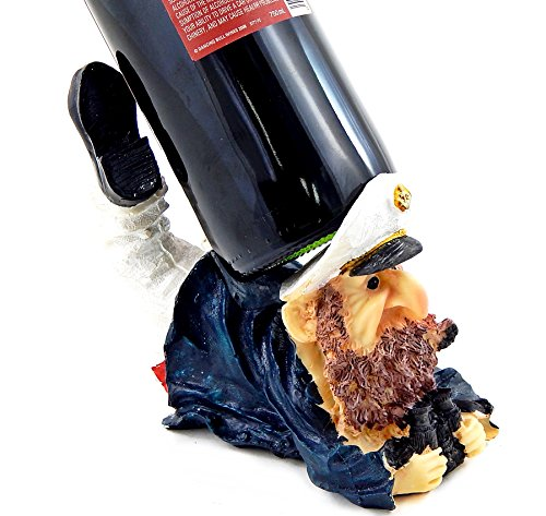 Bellaa 25471 Captain Wine Bottle Holder Statue Nautical Kitchen Bar Decor ()