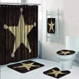 Philip-home 5 Piece Banded Shower Curtain Set Western Country Southwestern Primitive Rustic Wooden Lone Star Sheriffs Badge Army Military Shower Curtain/Toilet seat/Bath Towel