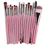 Baitaihem 15PCs Makeup Brushes Set Tools Toiletry Kit (Pink-Coffee)