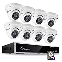 Loocam 8CH 1080P HD-TVI Video DVR Security Camera System, DVR Recorder with 2TB HDD and 8x 2MP(1920TVL) Surveillance Cameras(Dome), Motion Detection & Email Alert, Intuitive Android & iOS APP