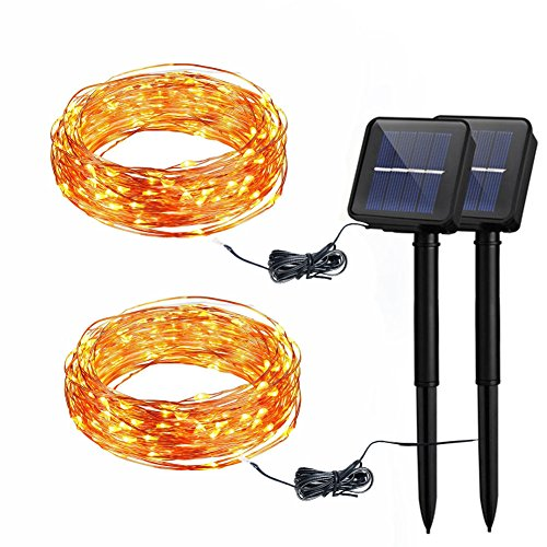 BIGWORTH 2PK Solar copper wire string light 120 LEDs warm white Decorative lights for party Christmas, Halloween, Wedding by BIGWORTH