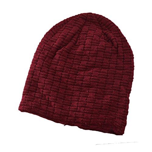 Ukallaite Our Fashion Century Hip Hop Casual - Gorro de esquí para Hombre, Color Liso y cálido, Light Coffee rojo vino