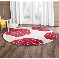 Safavieh Cambridge Collection CAM782I Handcrafted Moroccan Geometric Ivory and Red Premium Wool Round Area Rug (6 Diameter)