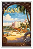 Hawaii, Land of Surf & Sunshine - Waikiki Beach - The Royal Hawaiian Hotel (Pink Palace of the Pacific) - Vintage Style Hawaiian Travel Poster by Kerne Erickson - Master Art Print - 13 x 19in