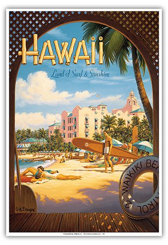 Hawaii, Land of Surf & Sunshine - Waikiki Beach - The Royal Hawaiian Hotel (Pink Palace of the Pacific) - Vintage Style Hawaiian Travel Poster by Kerne Erickson - Master (The Royal Hawaiian Hotel)