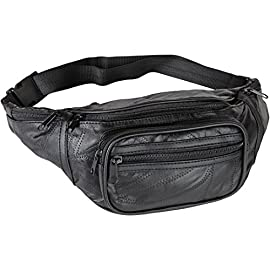 "Home-X Genuine Leather Lambskin Waist Bag, Fanny Pack 1 HIGH QUALITY - Genuine lambskin design fanny pack has the features of a fine handbag yet leaves your hands free to snap photos on the tour...browse the market...engage in activities. Fully lined. GREAT FEATURES - Has a large main section, a close-to-the-body pocket for valuables, front pouch and three exterior zip pockets. VERSATILE - Adjustable webbed strap fits from 34"" up to 48"" around."