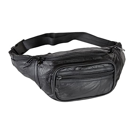 """Home-X Genuine Leather Lambskin Waist Bag, Fanny Pack 1 HIGH QUALITY - Genuine lambskin design fanny pack has the features of a fine handbag yet leaves your hands free to snap photos on the tour...browse the market...engage in activities. Fully lined. GREAT FEATURES - Has a large main section, a close-to-the-body pocket for valuables, front pouch and three exterior zip pockets. VERSATILE - Adjustable webbed strap fits from 34"""" up to 48"""" around."""