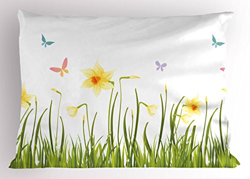- Lunarable Daffodils Pillow Sham, Daffodil Field with Butterflies Meadow and Grass Springtime Park Easter Print, Decorative Standard Size Printed Pillowcase, 26 X 20 inches, Yellow Green