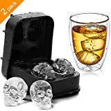 3D Skull Ice Cube Tray KIDAC Slicone Ice Cube Mold Candy Chocolate Mold BPA free (Pack of 2)