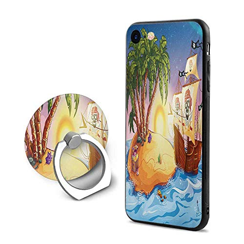 (Pirate Ship iPhone 7/iPhone 8 Cases,Ghost Ship on Exotic Sea Near Treasure Island with Palm Trees and Open Chest Multicolor,Design Mobile Phone Shell Ring Bracket)