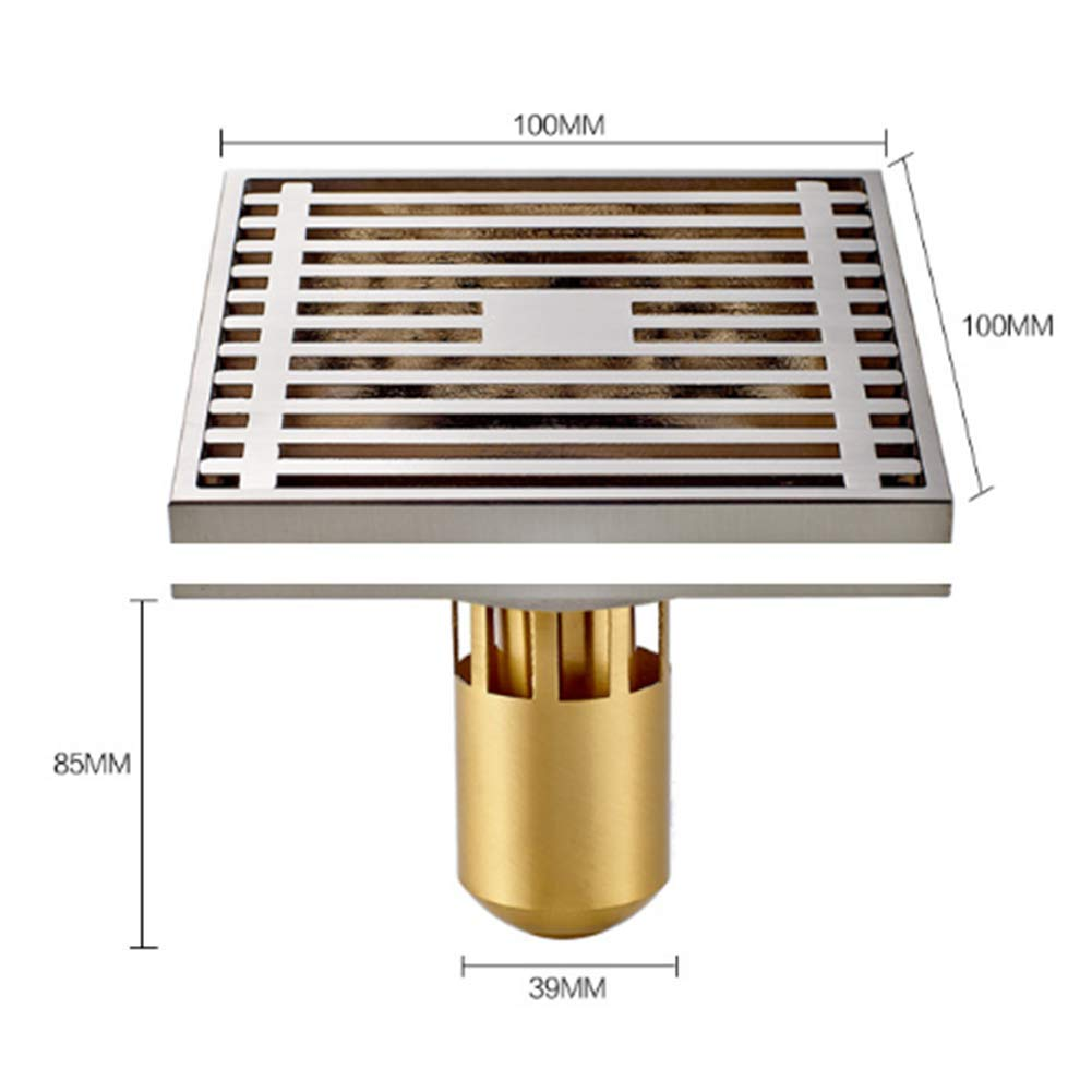 Brass Floor Drain Shower Drain Floor Drain - Square Kitchen Waste Drain Bathroom Deodorant Grate Drain Strainer Cover Grate,B by GPF (Image #5)