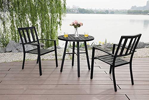 PHI VILLA Metal 3 Piece Bistro Furniture Set Outdoor Patio Set fits Garden Backyard Coffee Table 2 x Chair,1 x Table
